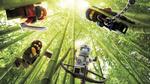 Обои Lego Movie Ninjago / четыре персонажа Ниндзяго на бамбуковых палках
