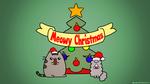 Обои Две кошечки рядом с елочкой (Meowy Christmas), by spacepirate04