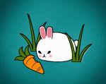 Обои Белый кролик рядом с морковкой, by spacepirate04