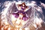 Обои Длинноволосая девушка-ангел в небе, by Dakiarts