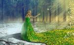 Обои Девушка с цветами на голове в образе весны, на ее зеленом платье, переходящем в поляну, растут одуванчики, фотограф Liliya M