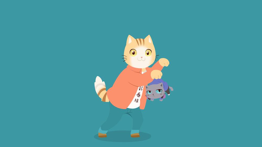 Обои для рабочего стола Рыжий кот с голубым котенком в лапе, Tapio и Kuehiko / Тапио и Куэхико из аниме Hataraku Onii-san! by VK-for-da-win