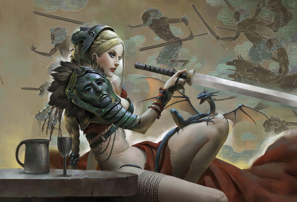 Обои для рабочего стола Демонесса с маской на голове держит меч, рядом черный дракончик на фоне рисунка с екаями. Художник Zeen Chin - Render. ru