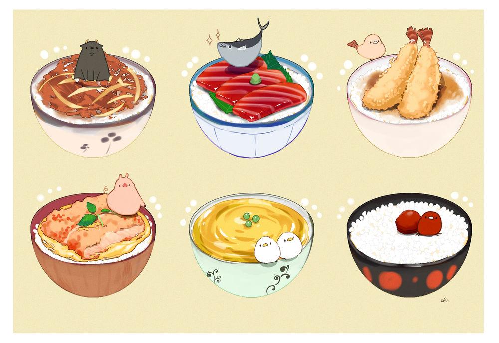 Обои для рабочего стола Корова в чашке риса с говядиной, лосось в чашке риса с кусочками лосося, птичка в чашке риса с креветками в кляре, свинка в чашке риса со свининой, две птички в чашке риса с яйцом и красная птичка в чашке риса с фрикадельками