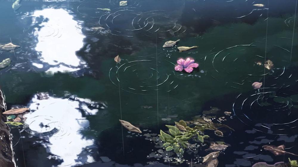 Обои для рабочего стола Лужа с каплями дождя и листьев, из аниме Сад изящных слов / Kotonoha no Niwa, аниматор Макото Синкай
