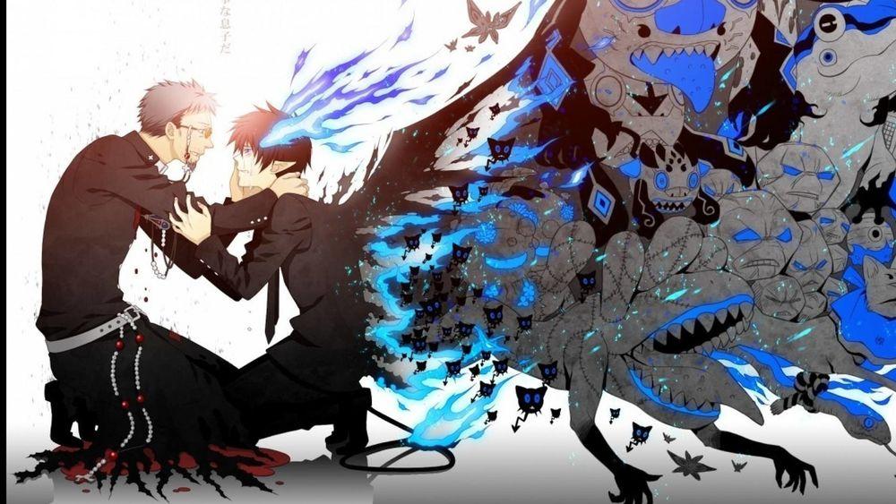 Обои для рабочего стола Братья Окумура Рин и Юкио / Okumura Brothers Rin & Yukio из аниме Синий Экзорцист / Ao no Exorcist / Blue Exorcist