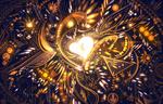 Обои Девушка внутри сердечка на фоне абстракции, art by bounin