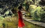 Обои Девушка в красном платье стоит у водоема в парке