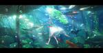 Обои Девушка с листком идет под водой