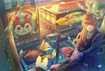 Обои Голубоглазая девочка с рыжими волосами сидит у окна с видом на городскую улицу среди рыбок и кошек