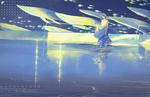 Обои Девушка стоит в воде бассейна, за ее спиной парят рыбы, by MORNCOLOUR