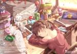 Обои Спящая за столом девушка, by chinchongcha