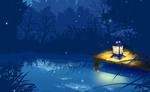 Обои Горящий фонарь стоит на мостике над водоемом