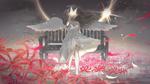 Обои Девочка - ангел стоит у скамейки с бабочкой на руке, автор Purimo
