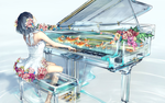Обои Девочка играет за стеклянным, прозрачным роялем, с плавающими в нем рыбками, by yuumei