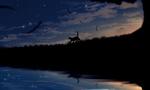 Обои Силуэт кошки на ночном звездном небе возле водоема, by imari
