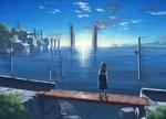 Обои Девочка стоит на мостике над водой, встречая рассвет