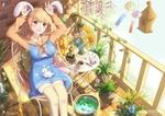 Обои Девушка с кроличьими ушками с маленькими кроликами, by chinchongcha