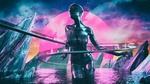 Обои Киберпанк / Cyberpunk, абстракция девушка в море на фоне неба