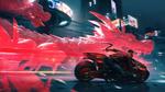 Обои Мужчина киборг мчится на мотоцикле от догоняющего его дракона / киберпанк