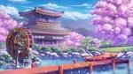 Обои Пейзаж, водяная мельница стоит недалеко от храма на фоне цветущих деревьев, by kuroneko (hmilk)