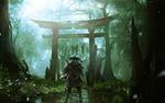 Обои Самурай из игры Ghost of Tsushima / Призрак Цусимы смотрит на повешенных людей на Тории