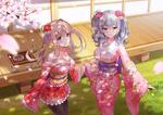 Обои Itt Challenger и Graf Zeppelin в кимоно из игры Kantai Collection: KanColle / Флотская коллекция
