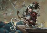 Обои Демонесса с маской на голове вынимает катану из ножен, рядом белый дракончик, на фоне рисунка с екаями, by Zeen Chin - Render. ru