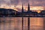 Обои Вечерний Гамбург, Альстер, by Karsten Bergmann