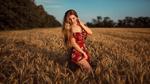 Обои Девушка в ярком платье стоит на колосистом поле