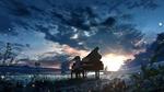 Обои Девочка играет на рояле на фоне облачного неба, by A_D_suger77