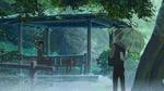 Обои Девушка под дождем сидит в беседке, рядом стоит парень под зонтом, из аниме Сад изящных слов / Kotonoha no Niwa, аниматор Макото Синкай