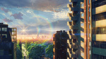 Обои Город в лучах солнечного заката из аниме Сад изящных слов / Kotonoha no Niwa, аниматор Макото Синкай