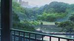 Обои Вид из окна на дождливую погоду, из аниме Сад изящных слов / Kotonoha no Niwa, аниматор Макото Синкай