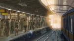 Обои Железнодорожный вокзал с людьми на перроне, из аниме Сад изящных слов / Kotonoha no Niwa, аниматор Макото Синкай