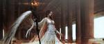 Обои Девушка - ангел стоит с посохом в руке в колонном зале, by AQ RITZ