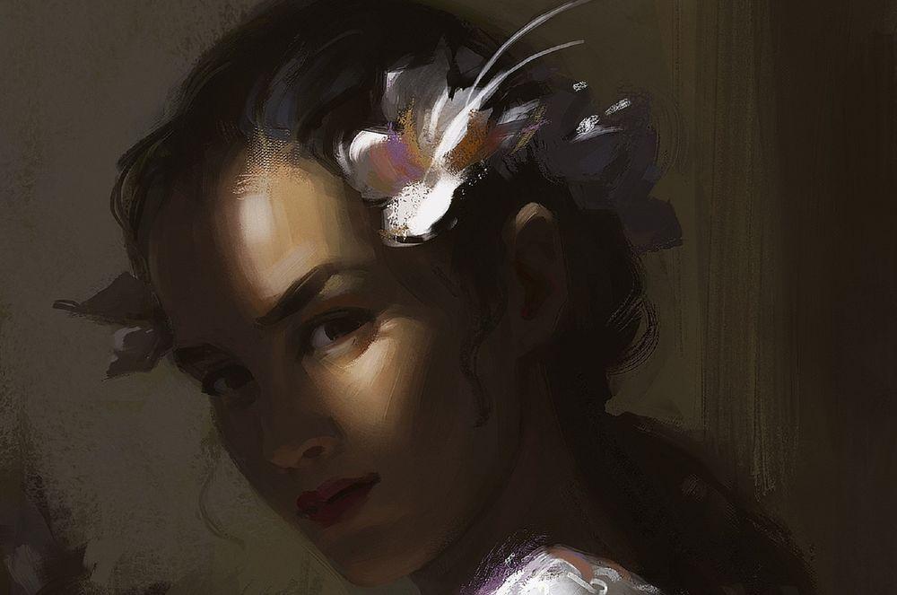Обои для рабочего стола Девушка с цветами в волосах, by Wildweasel339
