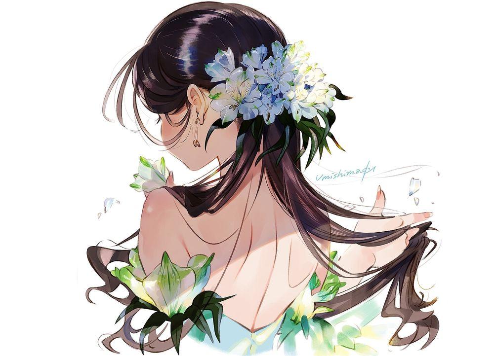 Обои для рабочего стола Девушка с цветами в волосах стоит к нам спиной, by Kaisen_Tobiuo