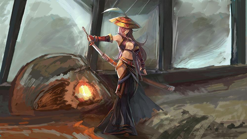 Обои для рабочего стола Девушка самурай, художественный арт из видеоигры Monster Hunter
