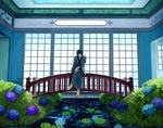 Обои Парень в халате сидит на мостике перед каналом, по обе стороны которого цветет гортензия, by Hakuya Rei