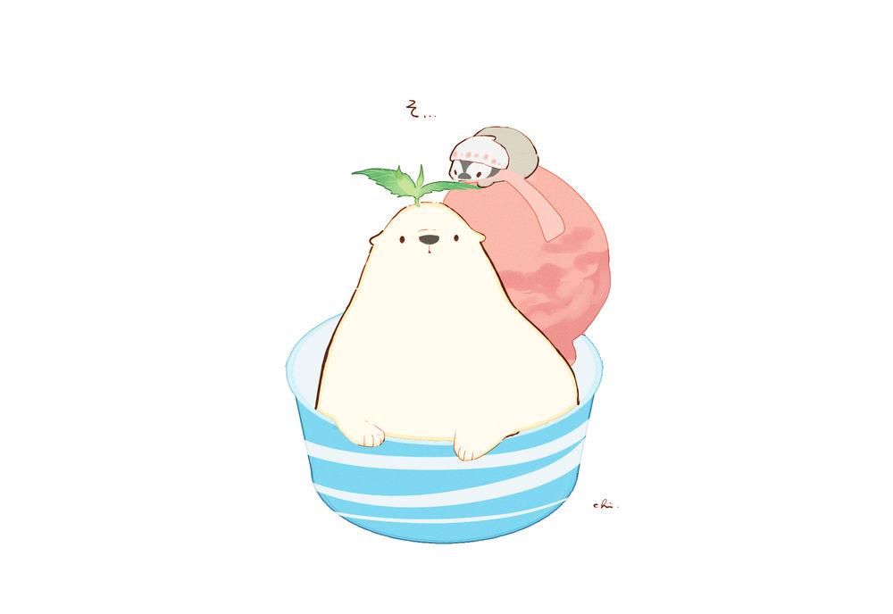 Обои для рабочего стола Белый мишка и пингвин в чашке с мороженным