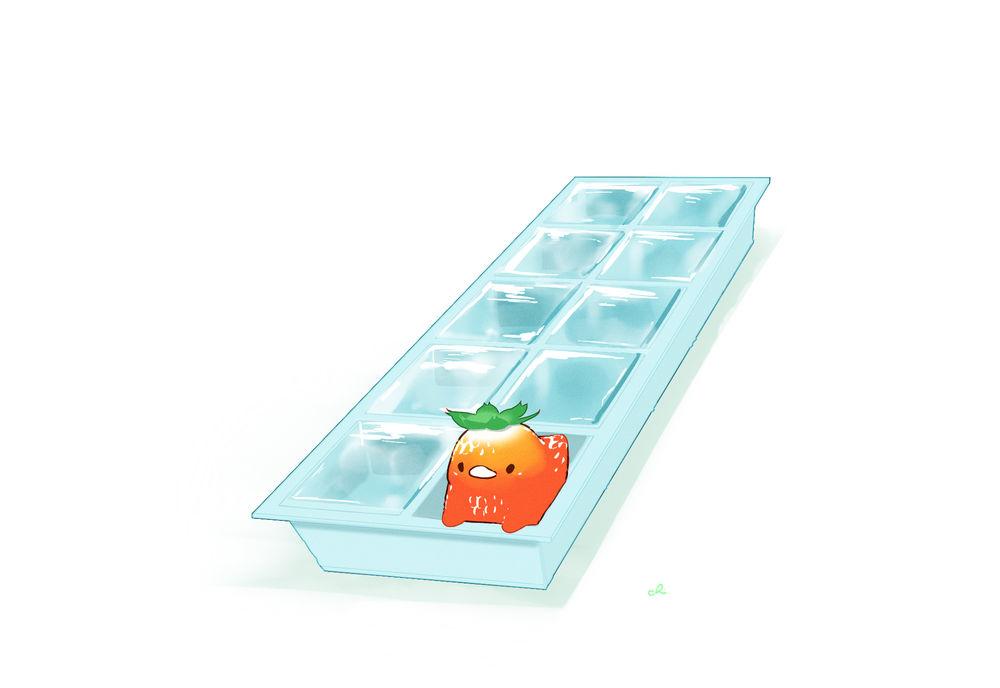 Обои для рабочего стола Птичка-клубничка в форме для льда