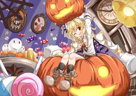 Конкурсная работа Nagan Revolver сидит на тыкве светильнике Джека среди сладостей, празднует Halloween, персонаж из мобильной стратегической игры Girls Frontline, by Matsuo
