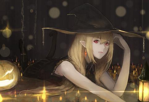 Конкурсная работа Девушка в костюме ведьмы лежит при свечах и светильнике Джека на полу, by marumoru