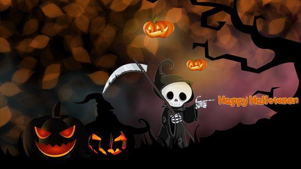 Конкурсная работа Образ смерти с косой и фанатиками Джека / Happy Halloween / Счастливого Хеллоуина