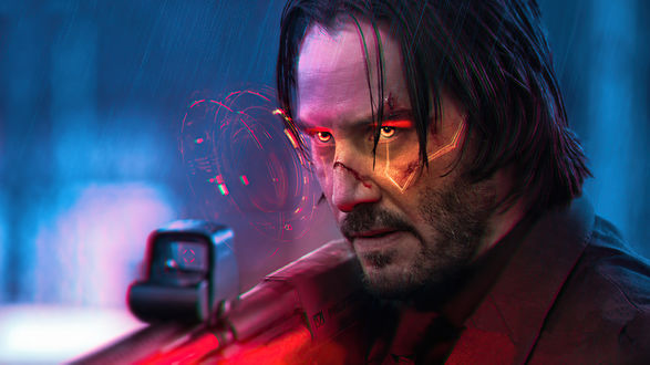 Киану Ривз / Keanu Reeves в видеоигре Киберпанк 2077 / Cyberpunk 2077 / Johnny Silverhand, by Mizuri AU