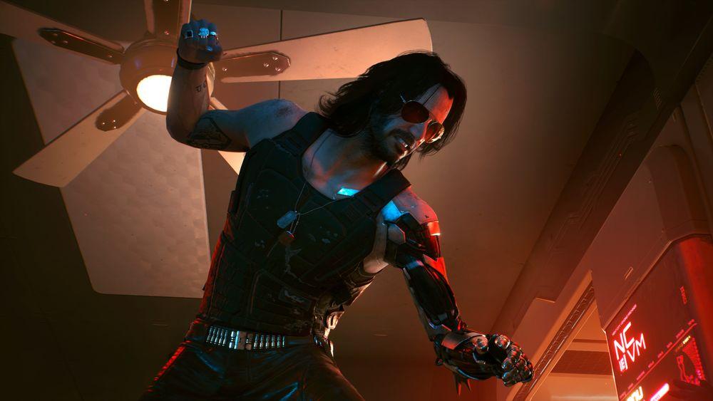 Обои для рабочего стола Мужчина-киборг, персонаж из видеоигры Cyberpunk 2077 / Киберпанк 2077