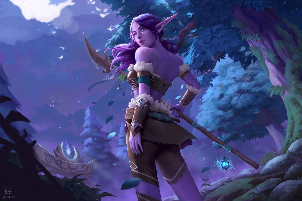 Обои для рабочего стола Night elf / Ночная Эльфийка из игры World of Warcraft / Мир военного ремесла, by Nicolas Barbas