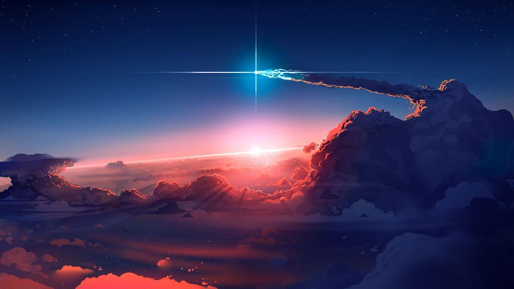 Обои для рабочего стола Ракета летящая в облаках на фоне рассвета, digital art by SouredApple