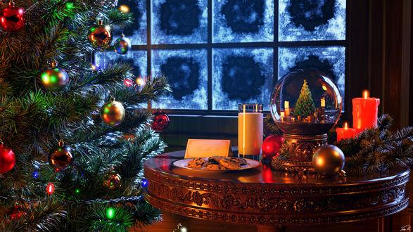 Конкурсная работа Рождественская елка и столик с игрушками, веточками ели, печеньями и свечами в комнате, by Luke Ryder